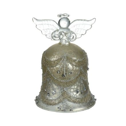 Ornate Skirted Glass Bell Angel